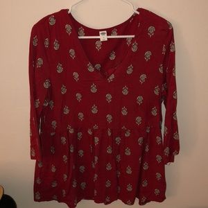 Red printed tunic long sleeve top